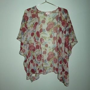 Band of Gypsies Red Floral Sheer Open Front Kimono